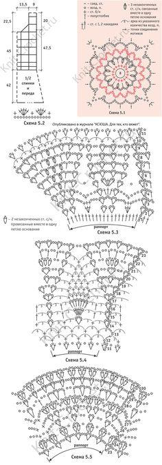 Выкройка, схемы узоров с описанием вязания крючком платья из квадратных мотивов с юбкой «клеш» размера 44-46.