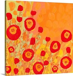 Contemporary Orange Flower Art - Orangecicle Wall Art by Jennifer Lommers from Great BIG Canvas.