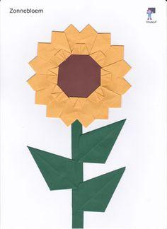 Zonnebloem - De website van vouwjuf! Useful Origami, Origami Easy, Origami Flowers, Vincent Van Gogh, Larp, Logos, Crafts, Painting, Website