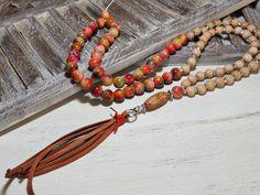 Charm- & Bettelketten - Lange Kette - JADE - HOLZ - LEDER - - ein Designerstück von Kunterbuntes-Perlenspiel bei DaWanda