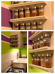 Turn a spice rack into a nail polish rack for the home for Kitchen colors with white cabinets with sticker labels walmart