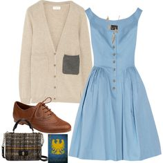 A fashion look from November 2012 featuring Vivienne Westwood Anglomania dresses, Chinti and Parker cardigans and Steve Madden oxfords. Browse and shop related…