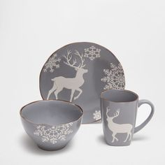 Grey dinnerware with reindeer