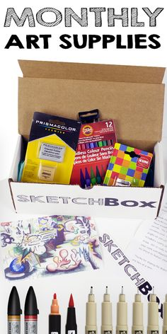Monthly Art Supplies delivered to your door.  Every box also includes a unique piece of art made with the supplies from the box to inspire you! Sign up today.