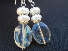 Pineapple Quartz and Ivory Pearl Earrings  by Jenalynscreations, $15.99