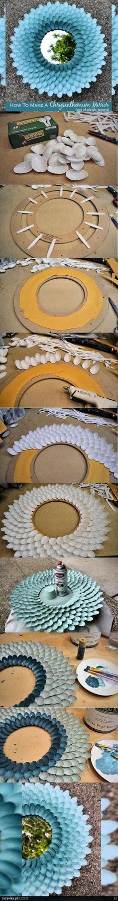 Ronde spiegel pimpen met plastic lepeltjes!