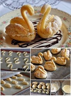 DIY Cream Puff Swan Recipe This reminds me of my Aunt Rose. She made the best cream puffs from scratch. Cream Puff Swans Recipe, Swan Recipe, Just Desserts, Dessert Recipes, Dinner Recipes, French Desserts, Puff Pastry Recipes, Pastries Recipes, Mini Pastries