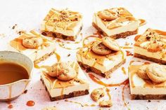With a choc-chip cookie base, condensed milk cheesecake middle and caramel sauce topping, this slice is one to remember. Xmas Food, Christmas Desserts, Christmas Foods, Yummy Treats, Sweet Treats, Christmas Ice Cream, Easy Slice, Peanut Butter Cheesecake, Cheesecake Recipes