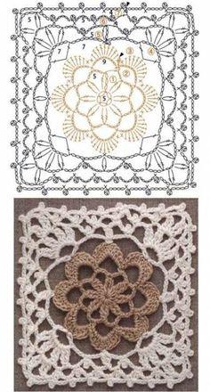 Motifs Granny Square, Crochet Squares Afghan, Crochet Blocks, Granny Square Crochet Pattern, Crochet Diagram, Crochet Chart, Crochet Afghans, Free Crochet, Granny Squares