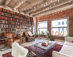Gravity Home : Los Angeles Loft With Exposed Brick. Sweet Home, Gravity Home, Brick Loft, Home Libraries, Piece A Vivre, Modern Interior Design, Interior Design Living Room, Home And Living, House Design