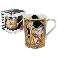 Gustav Klimt Kubek Classic 400 ml The Kiss Porcelana Łódź Gustav Klimt, Glass Art, Mugs, Tableware, Classic, Porcelain Ceramics, Derby, Dinnerware, Tumblers