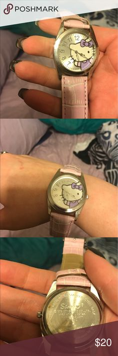 "Hello Kitty Pink ""leather"" watch Light pink leather-like band, silver face. Authentic Sanrio Hello Kitty Accessories Watches"