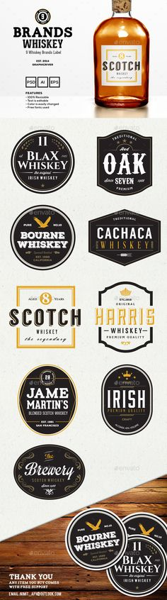9 Whiskey Brands Label | Buy and Download: http://graphicriver.net/item/9-whiskey-brands-label/9115034?WT.ac=category_thumb&WT.z_author=BNIMIT&ref=ksioks