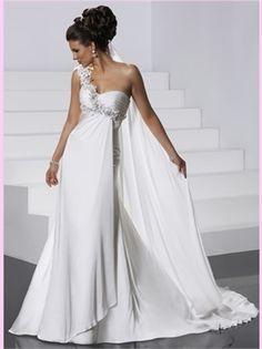 White A Line One Shoulder Strap Chiffon Wedding Dress