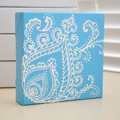 NEW - White on Blue Peacock Feather - Henna Style Original Painting - 6x6 Canvas-  bridal - wedding - valentines day - mothers day. $35.00, via Etsy.