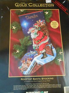 Dimension Gold Collection Rooftop Santa Stocking Counted Cross Stitch Kit | eBay