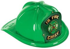 green plastic jr fire chief hat Case of 48