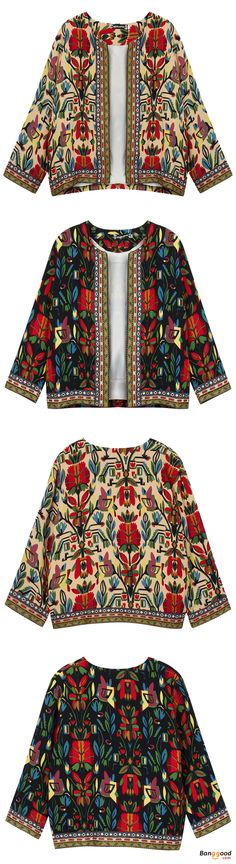 US$28 + Free shipping. Size: S~5XL. Fall in love with elegant and casual style! O-NEWE Vintage Women Embroidery Patchwork Printed Short Jacket.