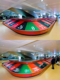 Promoting the Casino Di Venezia with a giant roulette wheel at Venice Marco Polo Airport. Good visibility, good humor.