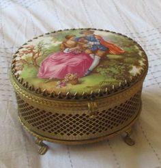 Antique Trinket Box Vanity box gold pattern porcelain cover Victorian Couple