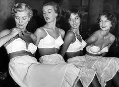 "hollyhocksandtulips: "" Photo by George Marks, "" Bullet Bra, Latina Girls, Retro Images, Smart Jokes, Vintage Lingerie, Crossdressers, Vintage Fashion, Vintage Style, Black And White"
