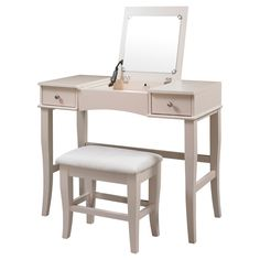 The Cream Jackson Vanity Set is perfect for providing storage and grooming space in a large bathroom or bedroom. The spacious top features a flip top that has a hidden mirror and open storage area. Two storage drawers are accented with small round pulls and provide ample hidden storage space. The cream finish and sleek design are ideal for any decor style.
