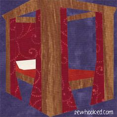 Harry's Four Poster Bed, updated 2014, free paper pieced pattern by Jennifer Ofenstein (sewhooked.com) on fandominstitches.com #harrypotter #freepattern