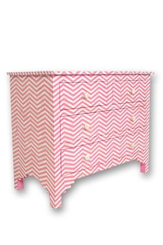 Fenton & Fenton - Bone Inlay Commode Chevron - Pink/ Master Bedroom Chest of Drawers