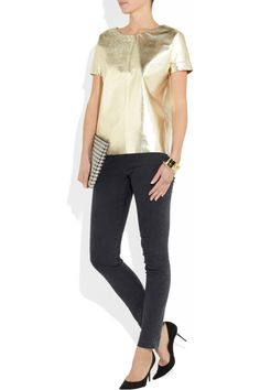 Gold Leather T-shirt: Yes, please!  Maje  | NET-A-PORTER.COM