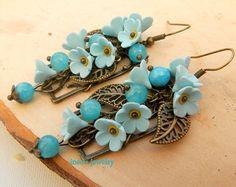Flower Earrings Forget Me Not Light Blue Earrings от insoujewelry