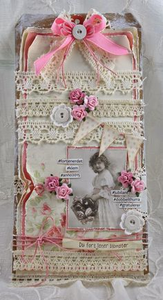 Shabby Chic Card With Lace, Buttons, and Flowers
