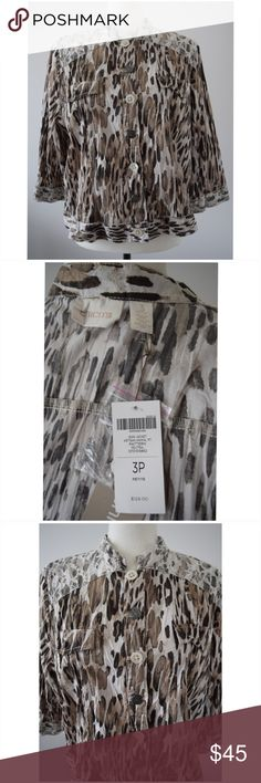 """NWT Chico's Jean Jacket Artisan Animal Print Sz 3P NWT Chico's Jean Jacket Animal Print Brown & Tan Cotton Blend Size 3P  Style: Jacket / Blazer Material: 96% Cotton, 4% Spandex Pattern: Animal Print Sleeve Length: Long Sleeve Country of Manufacture: India  Measurements: Measured in inches, garment laying flat. Please, check these measurements to make sure the garment fits you before purchasing.  Thank you.  1. Left shoulder seam to right shoulder seam: 17"""" 2. Armpit to armpit: 22.5"""" 3…"""