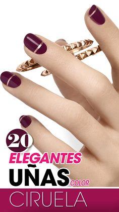 20 Elegantes uñas color ciruela. Nails desing. Nails color. plum nails.
