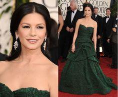 Catherine Zeta-Jones walks the red carpet in a forest green textured Monique Lhuillier dress. Jewels by Van Cleef & Arpels. [Golden Globes 2011]