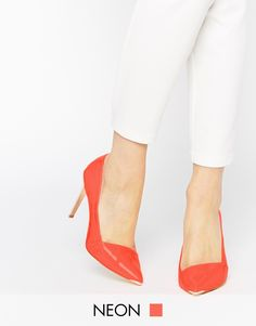 Image 1 of Ted Baker Orange Naretta Patent High Heel Point Pumps