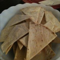 Chips: tortilla cut with pizza cutter into triangles. Put in oven 350 for 10 mins. With a little oil sprayed on top and salt sprinkled on it.
