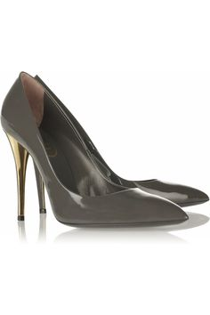Dark grey patent leather pumps with gold heel. By Yves Saint Laurent.