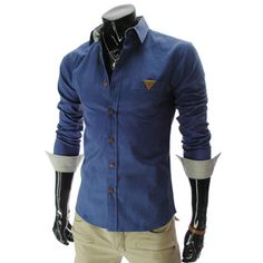 (HA024-BLUE) Slim fit Leather Patched Pocket Long Sleeve Shirts