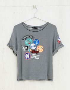 BSK patches & stripes T-shirt - Printed - Bershka United Kingdom