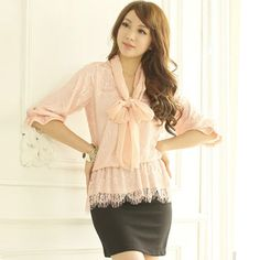 YOCO Bowknot Trim Lace Top