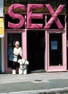 Vivienne Westwood's SEX store with Jordan and torso, c.1975.