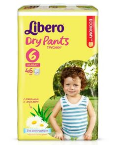 Libero Dry Pants Size 6 (13-20 кг) 46 шт  — 922р. -------------- Подгузники Libero Dry Pants 6 выполнены в форме трусиков, что поможет начать приучение ребенка к горшку. Экстракт ромашки и Алоэ, содержащийся в подгузниках, обладает антисептическим эффектом. Вкладыш трусиков мягкий, тонкий, однако хорошо впитывает жидко...