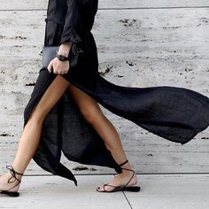 Catching the wind with a seriously chic skirt.