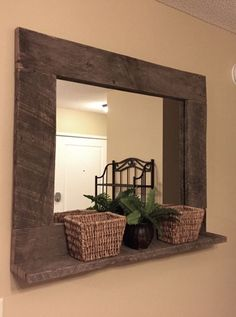 Rustic Wood Mirror Pallet Furniture Rustic Home Decor Reclaimed Pallet Wood Large Wall Mirror Hanging Mirror with Shelf DIY Wood Working projects: Rustic Wood Mirror Pallet Furniture Rustic Home De… Rustic Mirrors, Rustic Walls, Rustic Wood, Rustic Decor, Unique Mirrors, Decorative Mirrors, Vintage Mirrors, Round Mirrors, Barn Wood