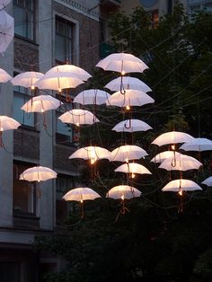 Umbrellas hung from lines with lights