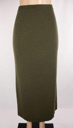 EILEEN FISHER Skirt Size L Green Knit Full Length Merino Wool #EileenFisher #StretchKnit