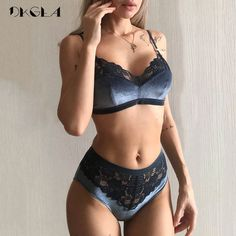 2019 New Velvet Bras Lace Lingerie Set Blue Thin Cotton Brassiere Women Underwear Set Wire Free Embroidery Sexy Bra Panties Sets - Lingerie - Ideas of Lingerie Sexy Lingerie, Lingerie Azul, Lingerie Bonita, Blue Lingerie, Lingerie Outfits, Lace Lingerie Set, Pretty Lingerie, Elegant Lingerie, Cotton Lingerie
