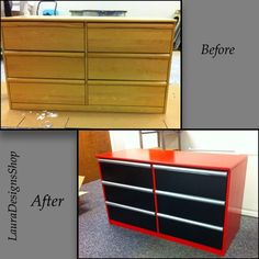 "Plain dresser transformed into kids' (big kids or little ones. ""Snap on"" dresser with black draws and silver handles. Tool Box Dresser Race Or Car Dresser. What an amazing transformation! Boys Bedroom Storage, Kids Bedroom, Car Bedroom Ideas For Boys, Baby Bedroom, Childrens Bedroom, Tool Box Dresser, Red Dresser, Dresser Ideas, Race Car Room"