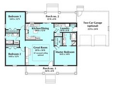 653684 - 3 Bedroom 2.5 Bath Southern House Plan with wrap around ...
