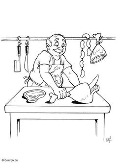 Butcher Coloring Pages Community Workers, Community Helpers, Free Coloring Sheets, Coloring Pages, Kindergarten Jobs, Maila, Art Drawings For Kids, Digi Stamps, Preschool Activities